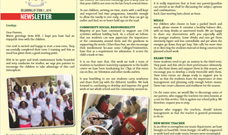 Secondary – Beginning of term Newsletter