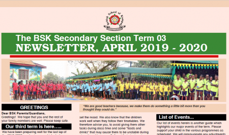 Secondary Beginning of Term 3 Newsletter